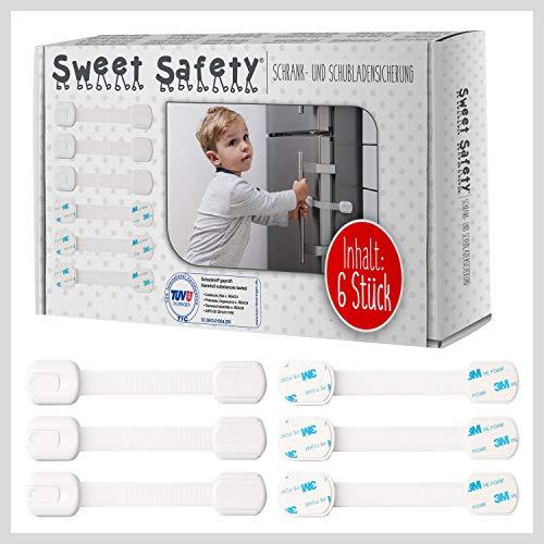 Sweet Safety® Baby Schubladensicherungen - Bombenfest - TÜV Schadstoff geprüft - Kindersicherung zum Kleben für Schränke und Schubladen - 6 Stück