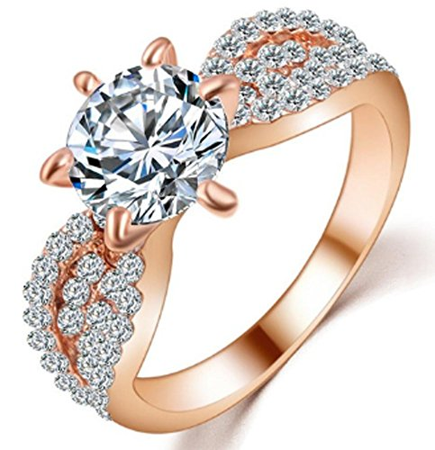 SaySure - Romantic Wedding Crystal Rings Rose Gold Platinum (SIZE : 9)