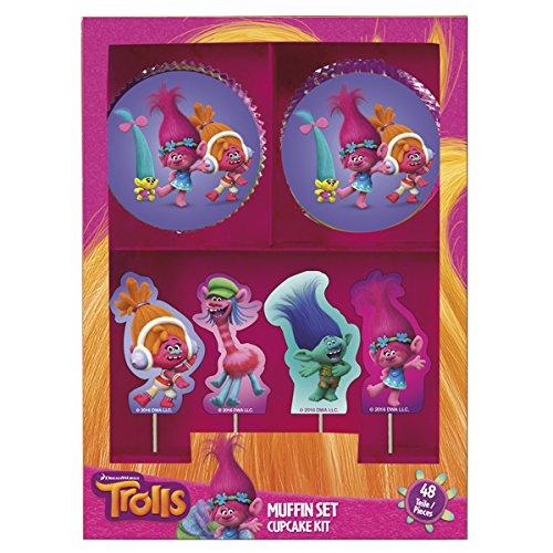 Dekoback Trolls Muffinset, Papier, bunt, 7.1 x 7.1 x 3.4 cm, 48-Einheiten