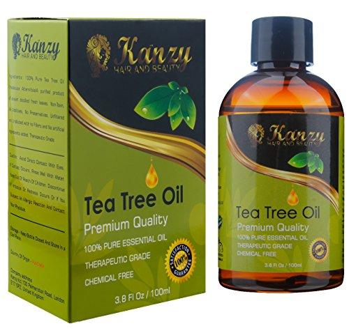 KANZY Aceite esencial de árbol de té - Para masaje - para la cara y Cuerpo - El tratamiento para el acné, los piojos y las enfermedades de la piel- 100% puro - 100ml