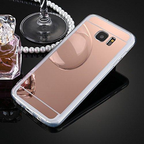 Custodia Samsung Galaxy S6 Edge, Galaxy S6 Edge Cover, Galaxy S6 Edge G925 Custodia Cover, JAWSEU Moda Lusso Specchio Riflessione Scintilla Scintillio Diamante Bling Glitter Custodia Cover per Samsung Oro Rosa