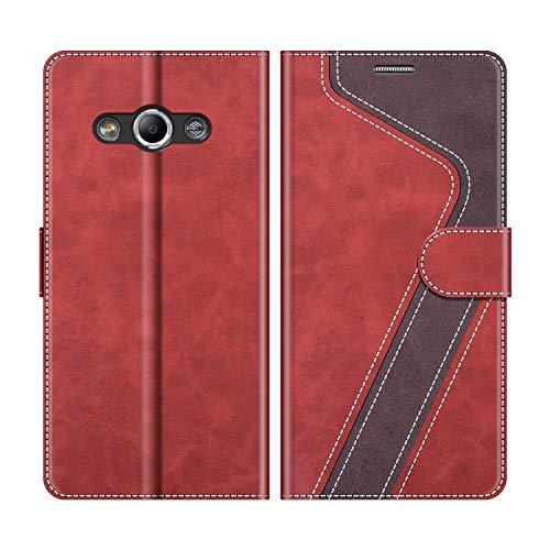 MOBESV Handyhülle für Samsung Galaxy Xcover 3 Hülle Leder, Samsung Galaxy Xcover 3 Klapphülle Handytasche Case für Samsung Galaxy Xcover 3 Handy Hüllen, Modisch Rot