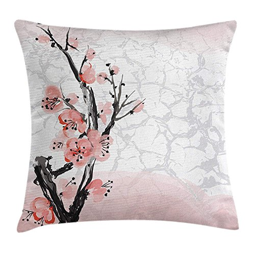 Cupsbags Floral Throw Pillow Cushion Cover, Japanese Cherry Blossom Sakura Tree Branch Soft Pastel Watercolor Print, Decorative Square Accent Pillow Case, Coral Light Pink Grey24 Patterned Magnolia Branch