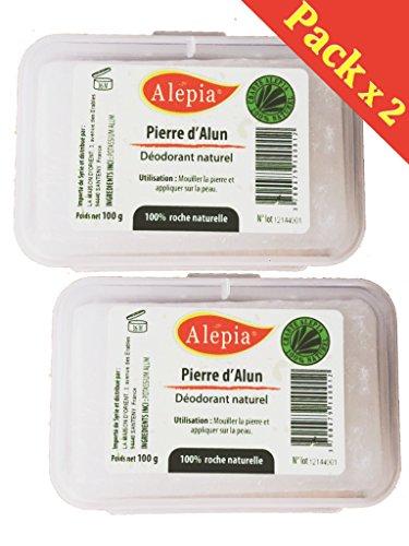 Alaunstein Natürliche alépia-Natürliches Deodorant ohne Hydrochloride Aluminium--Barren 100g (Deodorant, reguliert die Schweiß)-Kalium Alaunstein-2Boxen im Set (2)