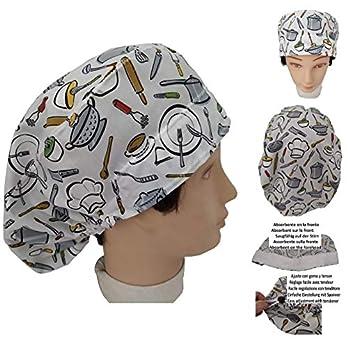 Frauen Kochmütze Küchengeräte Verpflegung Mit saugfähigem Mittel auf der Stirn Langes haar Nach Ihrem Geschmack ohne Knoten mit Spanner einstellbar