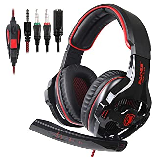 SADES SA810 Stereo Gaming Headset for Xbox One,PC,PS4 Over-Ear Headphones with Noise Canceling Mic,Soft Ear Cushion,3.5mm Jack Cable for Mac Laptop Tablet Smartphone