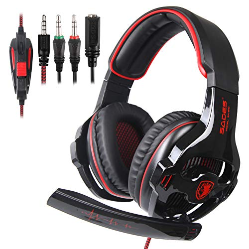 ba89d47bdfa SADES SA810 Stereo Gaming Headset for Xbox One,PC,PS4 Over-Ear Headphones