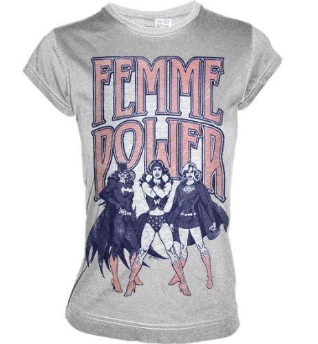 Retro Damen Shirt FEMME POWER Sports Grey Gr. XS - NEW ()
