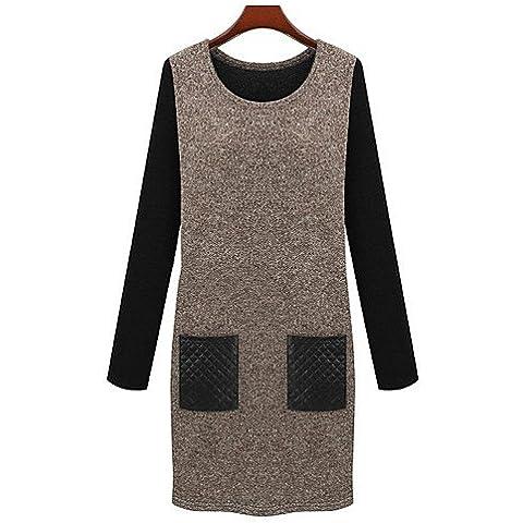 LYQ/ De las mujeres Tallas Grandes Vestido Para Trabajo / Casual Bloques Sobre la rodilla Escote en U Algodón / Licra / Punto / Elástico , dark gray-5xl , dark gray-5xl