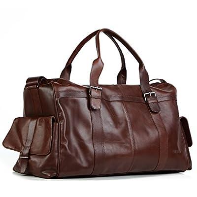 FEYNSINN® sac de voyage ASHTON homme - grand XL fourre-tout besace week-end - sac sport bagages cabine à main sac homme marron sac cuir véritable