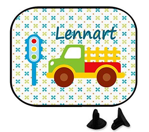 wolga-kreativ Lastwagen mit Name Auto SonnenSchutz und SonnenBlende für Baby und Kind personalisiert Wunschname (1 St.)