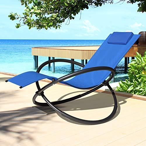 Swing & Harmonie Relaxliege Gartenliege Faltbare Sonnenliege Schaukelliege Liegestuhl Schaukelstuhl Klappbar Schaukelsessel inkl. Nackenkissen (NavyBlue)