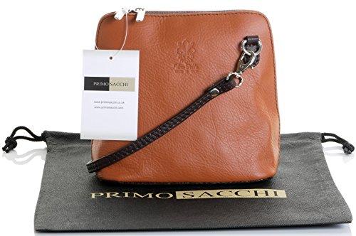 Italienische Leder, klein/Micro Tan und dunkel braune Umhängetasche oder Schultertasche Handtasche.Beinhaltet eine schützenden Aufbewahrungstasche. (Braune Leder Italienische Handtasche)