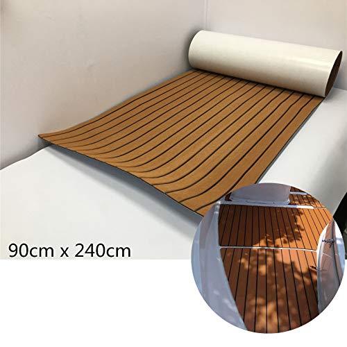 yuanjiasheng Synthetik Teak Boot Sonnendeck Tabelle Eva-Schaum Wasser Proof 240x 89,9cm Hellbraun