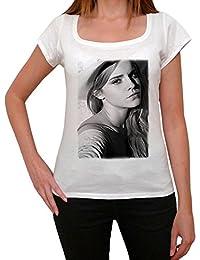 Emma Watson 1, tee shirt femme, imprimé célébrité,Blanc, t shirt femme,cadeau