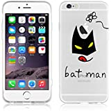 JAMMYLIZARD | Cover custodia in Silicone Trasparente con Sketch per iPhone 6 e 6s, BATMAN