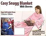 ASAB Luxus Super Weich Flanell Fleece Kuscheldecke Plüsch Cuddle Körperpackung mit Ärmeln gemütlich Winter Warm Kuschelig Navy