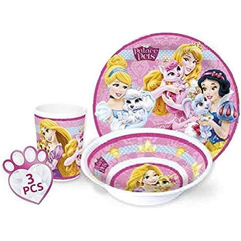 Disney Princess Niños Service con plato, cuenco y vaso (melamina, U02)
