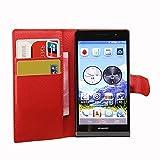 Tasche für Huawei Ascend P6 Hülle, Ycloud PU Ledertasche Flip Cover Wallet Case Handyhülle mit Stand Function Credit Card Slots Bookstyle Purse Design rote