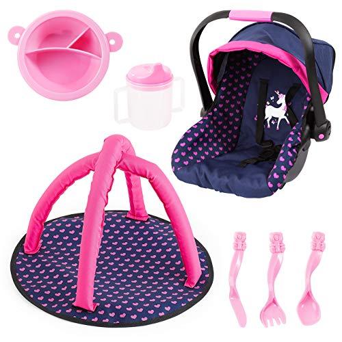 Bayer Design Juego de Accesorios, Silla de Coche de muñecas, Manta de Activity y vajilla de plastico, Color Azul, Rosa con Unicornio (BAYIH)