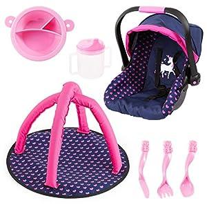 Bayer Design- Juego de Accesorios, Silla de Coche de muñecas, Manta de Activity y vajilla de plastico, Color Azul, Rosa con Unicornio (BAYIH)