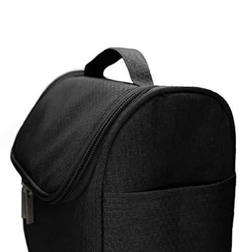 Kulturbeutel zum Aufhängen, Airlab Kulturtasche mit Tragegriff und Haken, Größe: 24 x 19,5 x 12,5cm, Schwarz