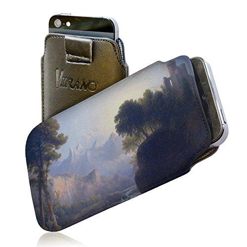 Thomas Doughty - Fanciful Landscape, Pull Tab Portafoglio Custodia Protettiva in PU Pelle Wallet Case Cover Shell Borsa Copertura Nero con Design Colorato per Huawei P8.