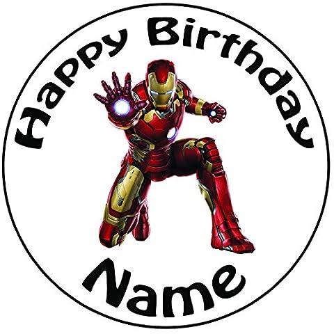 personalisierbar Iron Man Cake Topper, einem vorgeschnittenen Rund 20,3cm (20cm)