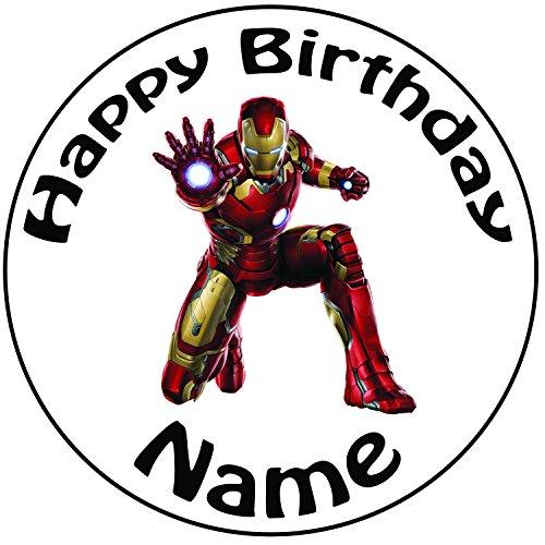 personalisierbar Iron Man Cake Topper, einem vorgeschnittenen Rund 20,3cm (20cm) Zuckerguss (Ideen Halloween Leicht Cupcake)