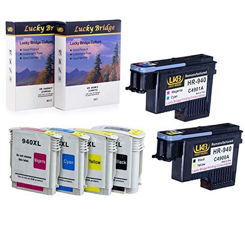 Lucky Bridge HP940 Druckkopf C4900A C4901A wiederaufbereiteter Druckkopf und 1 Set 940 940XL Tintenpatrone mit Chip, nie kompatibel mit HP Officejet (1 Set Druckkopf und Tintenpatrone)