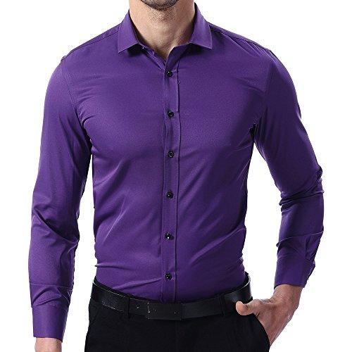 Camicia classica in fibra di bambù da uomo, manica lunga, slim fit, stile elastica casual/formale, viola, 43