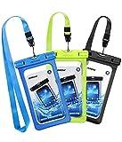 Mpow [3 Pezzi Custodia Impermeabile Smartphone, IPX8 Custodia Impermeabile, Borsa Impermeabile,Sacchetto Impermeabile Cellulare Dry Bag, Sacchetto di Smartphone 6.5″ per iPhone XS/X/8/7, P30/P20/P10