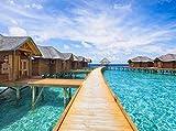 Fototapete Malediven Hotel 350cm Breit x 260cm Hoch Vlies Tapete Wandtapete - Tapete - Moderne Wanddeko - Wandbilder - Fotogeschenke - Wand Dekoration wandmotiv24