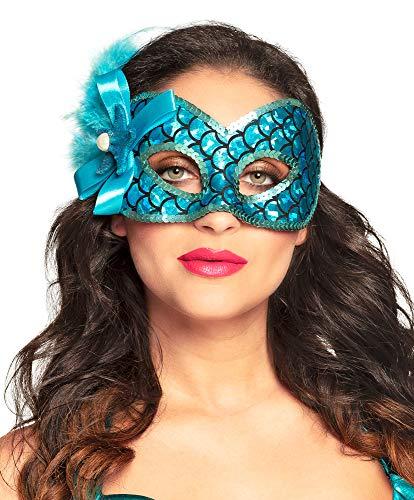 Das Kostümland Venezianische Augenmaske zum Meerjungfrau Kostüm für Damen - Blau - Zubehör Mermaid Nixe Fasching Maskenball Mottoparty