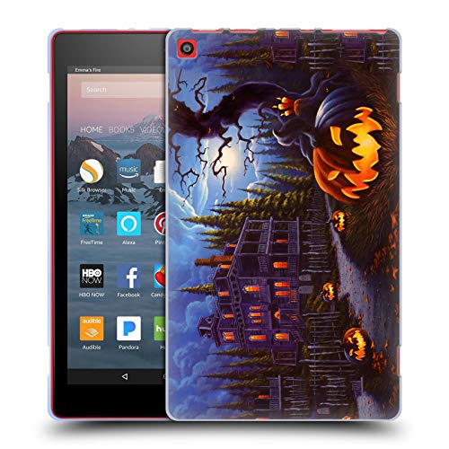 (Head Case Designs Offizielle Geno Peoples Art Irrlicht Spur Halloween Soft Gel Hülle für Amazon Fire HD 8 (2017))
