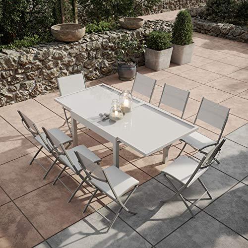 Table de Jardin Extensible Aluminium/Verre 90/180cm + 8 ...