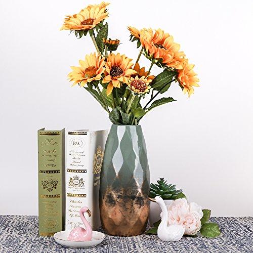 Teresa\'s Collections Grüne Golde Keramik Vase Kleine Blumenvase Moderne Farbe Tischvase Blumen Pflanzen Tischdeko Keramikvase Deko Garten Dekoration Höhe 23cmØ 10cm(Grün & Gold)