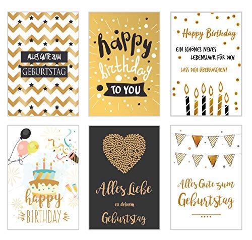 Edition Seidel Set 6 exklusive Geburtstagskarten mit feiner Goldprägung und Umschlag. Glückwunschkarte Grusskarte zum Geburtstag. Geburtstagskarte Karte Mann Frau Happy Birthday