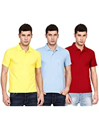 Ojass Solid Men's Polo Neck Yellow, Blue, Maroon T-Shirt (Pack Of 3)