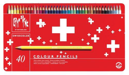 Caran d'ache swisscolor scatola in metallo 40 matite colorate acquerellabili