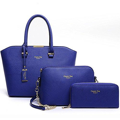fanhappygo Fashion Retro Leder Damen elegant Kreuzmuster Portemonnaie taschen Schulterbeutel Umhängetaschen Abendtaschen a set blau