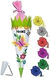 Unbekannt BASTELSET Schultüte -  Schmetterling & Blumen  - 85 cm - incl. Schleife + Name - mit / ohne Kunststoff Spitze - Zuckertüte - Set zum selber Basteln - 6 ecki..