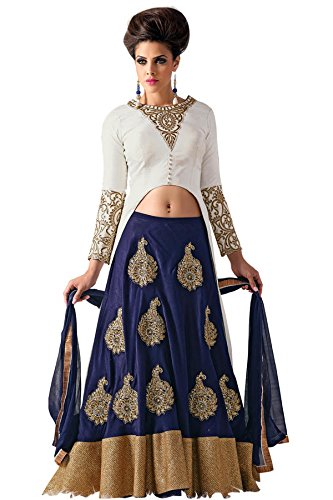 S R Fashion Womens Embroidered Semi Stitched Indo Western Lehenga Choli Blue...