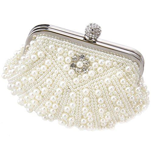 Damen Elegant Handtasche Geldbörse Geldbeutel Tasche Shell Stil Elfenbein Braut (Kristall-braut-handtasche)