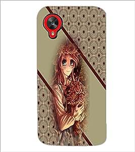 PrintDhaba Cute Girl D-2707 Back Case Cover for LG GOOGLE NEXUS 5 (Multi-Coloured)