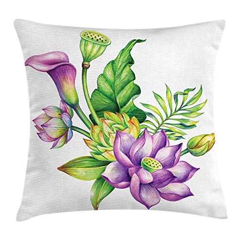 VVIANS Watercolor Flower Throw Pillow Cushion Cover, Exotic Asian Blooms Lily Lotus Herbs Nature Bridal Chinese Bouquet, Decorative Square Accent Pillow Case, 18 X 18 Inches, Green Purple -