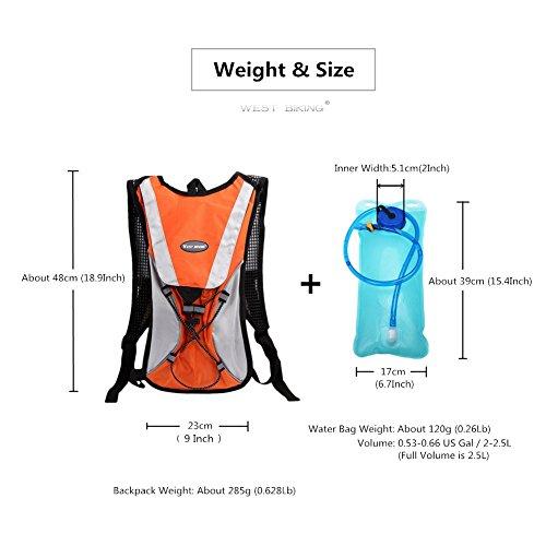 West Biking stärker Hydration Backpack + 2,5l Wasser Rucksack, muli-functions Kleine Werkzeuge Tasche, leichte Tasche für Reiten Camping Bergsteigen Bergsteigen, 6Farben Orange Set