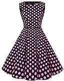 Bbonlinedress 50s Vestidos Vintage Retro Rockabilly Clásico Black Pink Big Dot 2XL