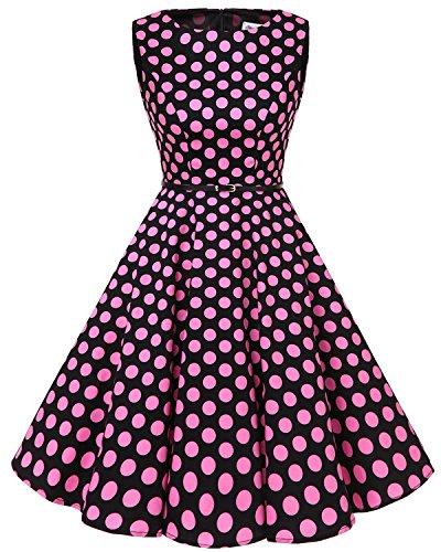 bbonlinedress 50s Retro Schwingen Vintage Rockabilly Kleid Faltenrock Black Pink Big Dot 2XL