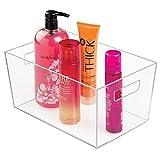 mDesign portaoggetti bagno – portatrucchi trasparente ideale per la conservazione di cosmetici e utensili bagno – ottimo organizer trucchi in resistente plastica